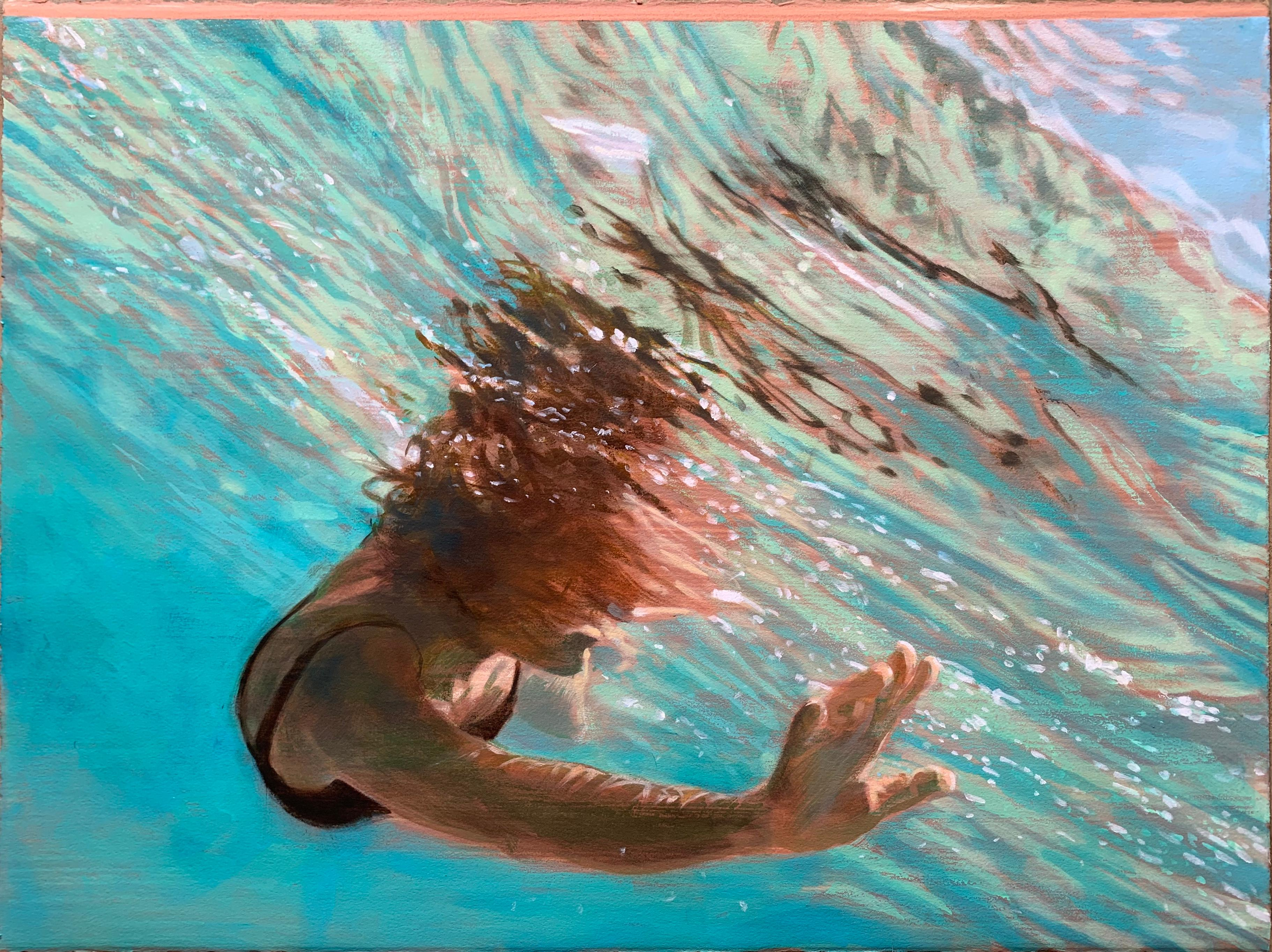 Current, Swimmer, Water, Work on Paper, Blue, Green, Female Figure
