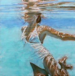 """""""Dissolve (Square)"""" Oil painting of a woman in a white swimsuit in a blue pool"""