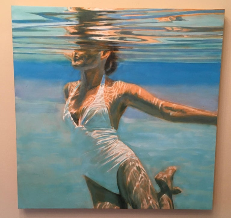 Dissolve is a figurative swimmer artwork.   It is acrylic, oil and varnish on wood panel.  Artwork is 35.5 x 35.5.    Carol Bennett spends all of her time surrounded by water, and a great deal within it.  Her work is a meditative journey through
