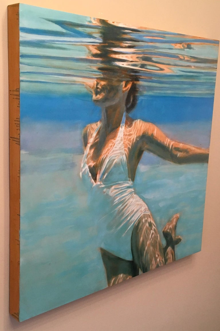 Dissolve, Swimmer, Water, Painting, White, Blue, Female Figure, Beach For Sale 1