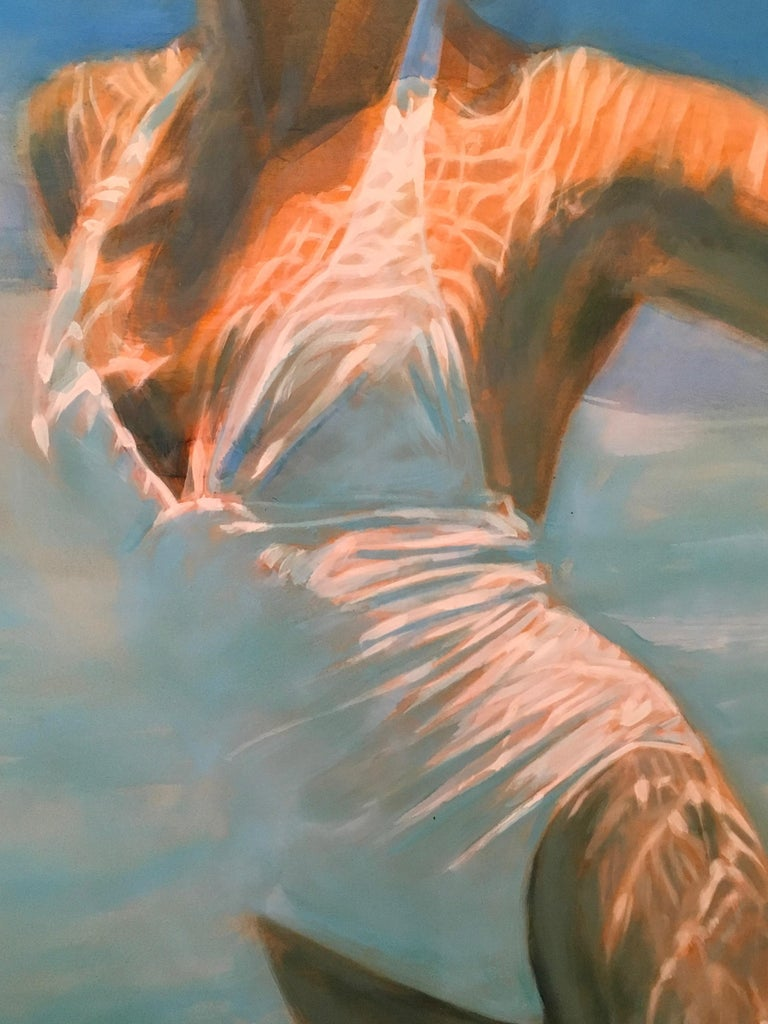 Dissolve, Swimmer, Water, Painting, White, Blue, Female Figure, Beach For Sale 3
