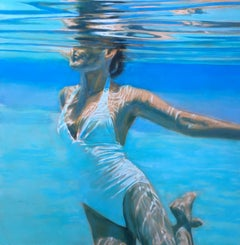 Dissolve, Swimmer, Water, Painting, White, Blue, Female Figure, Beach