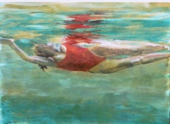 """Effervescence"" oil painting of a woman in a red suit in turquoise water"
