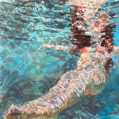 Effervescence, Swimmer, Water, Floating, Painting, Blue, Orange, Female Figure