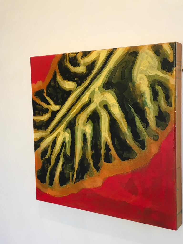 Flat, painting inspired by Hawaii Fish, Red, black, Green, Oil, Ink on panel - Contemporary Painting by Carol Bennett