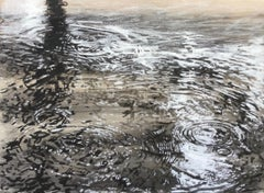 """Fresh Water Drops"" Black and white oil painting on paper of ripples in water"