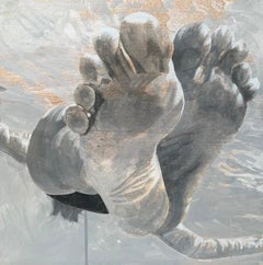 """Hang Time"" black and white acrylic painting of feet floating in water"