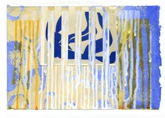 """Interrupted II (Swim with Matisse) Paper"" Abstract floral painting blue, yellow"