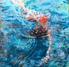 """Kissing the Ground"" Abstract oil painting of a woman in a red suit under water"