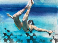 """Lift Study II"" watercolor painting of a woman swimming under deep blue water"