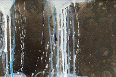 """Little Big Fall 3 (paper)"" Abstract painting of waterfall with dark background"