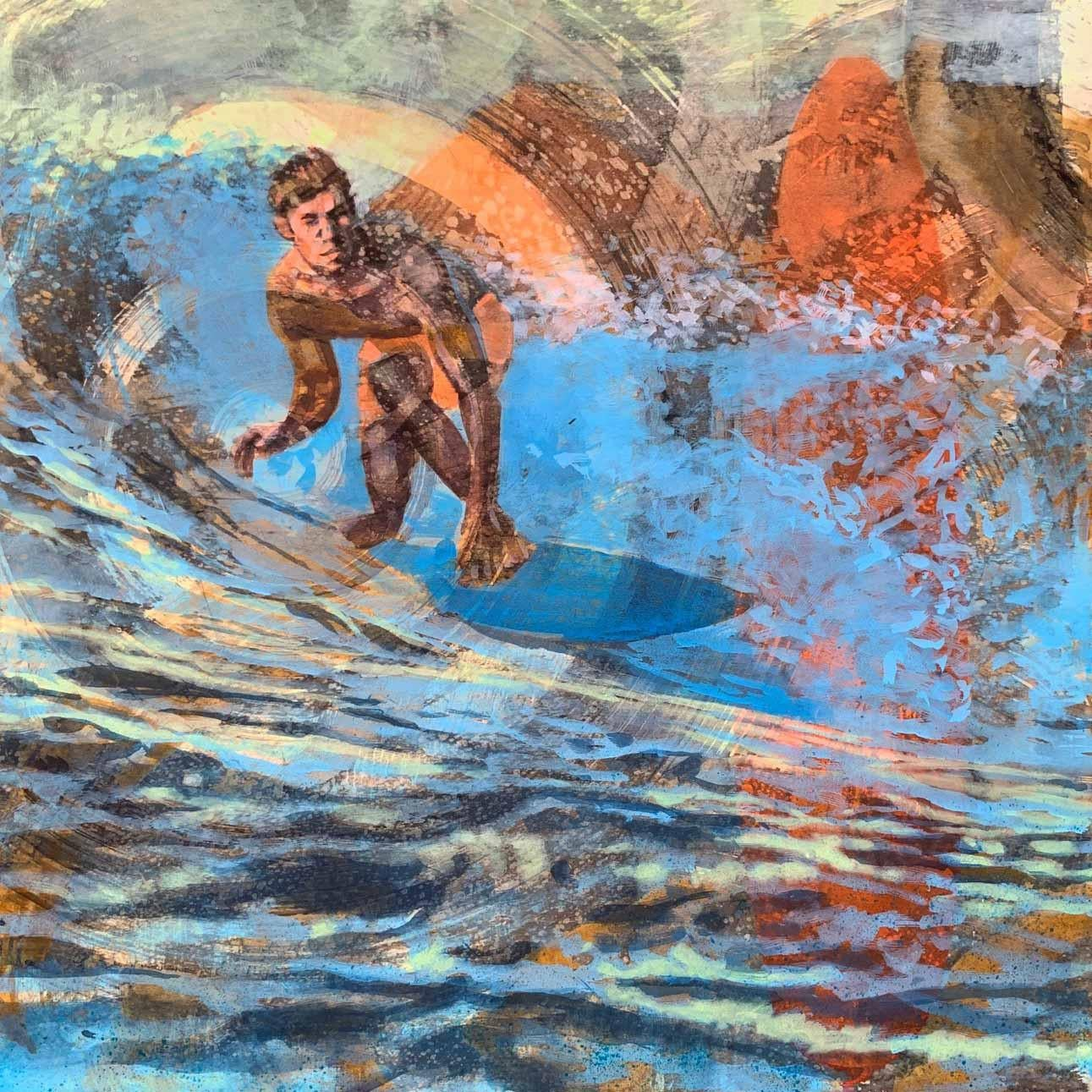 Malibu Dawn Patrol, Surfer, Water, Painting, Blue, Orange, Male Figure, Waves