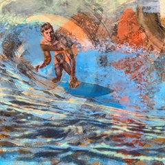 Malibu Dawn Patrol, Surfer, Water, Painting, Blue, Orange, Male Figure, Waves