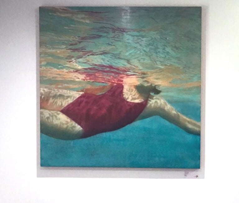Manganese is a figurative swimmer artwork by Hawaii artist Carol Bennett.   It is acrylic, oil and varnish on wood panel.  Artwork is 44 x 44.  It is a great artwork for a beach house or a space looking for meditative, calming artwork.  Carol