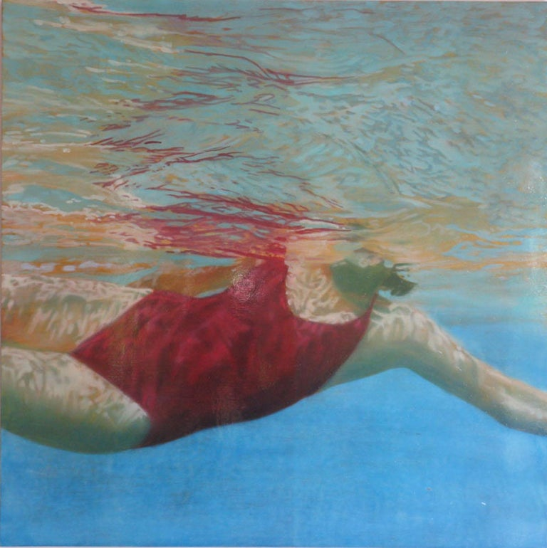Carol Bennett Figurative Painting - Manganese, Swimmer, Water, Painting, Red, Blue, Female Figure, Beach, Swimming