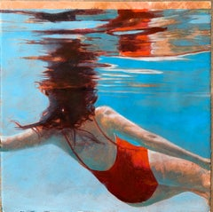 Portal, Swimmer, Water, Work on Paper, Blue, Red Swimsuit, Female Figure