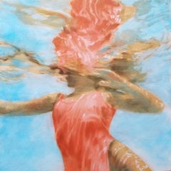 """Rose Cartemus"" oil painting of a woman in a red swimsuit in a blue pool"