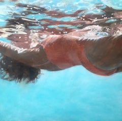 """Salmon-Big and Grounded"" oil painting of woman in orange floating in blue pool"