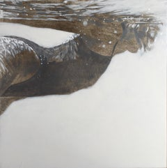 """Carol Being Cool"" black and white oil painting of a woman swimming underwater"