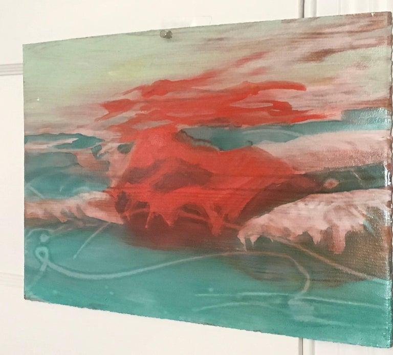 Suspense Study 2017, Mixed Media work on paper, Swimmer, Water - Contemporary Painting by Carol Bennett