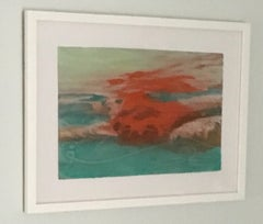 Suspense Study, Mixed Media work on paper, Swimmer, Water, Framed