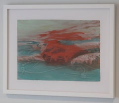 Suspense Study, Mixed Media work on paper, Swimmer, Water, Framed, beach house