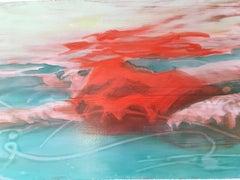 Suspense Study, Swimmer, Water, Framed, Red Bathing Suit, Female, beach house