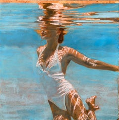 Titanium Reflect, Swimmer, Water, White Swimsuit, Work on Paper,  Female Figure