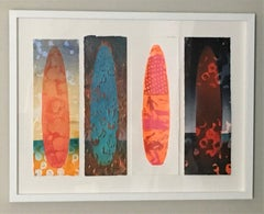Waiohai, Surfboards, Surfing, Water, Work on Paper, Blue, Orange, Red, Figure