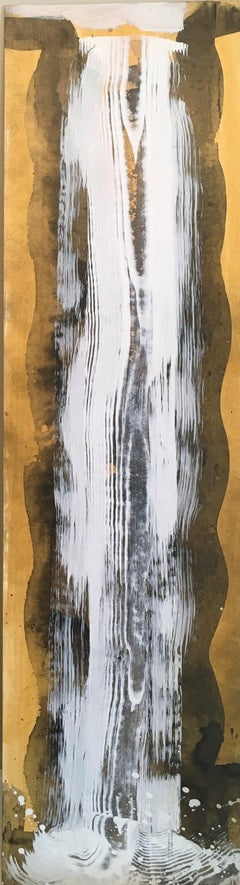 Waterfall Duet 2, Water, Gold, White, Flowing, Acrylic, Oil, Painting, unframed