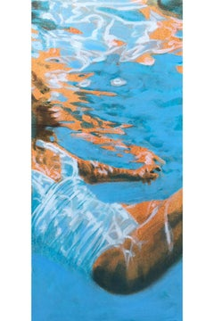 """White Cadillac 3 (paper)"" oil painting of woman in white swimsuit in blue pool"