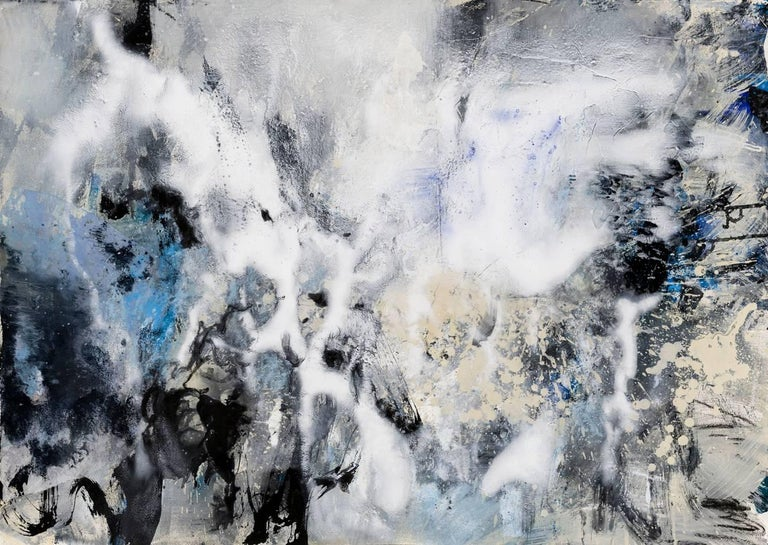 Ice Storm 2, mixed media abstract painting on paper