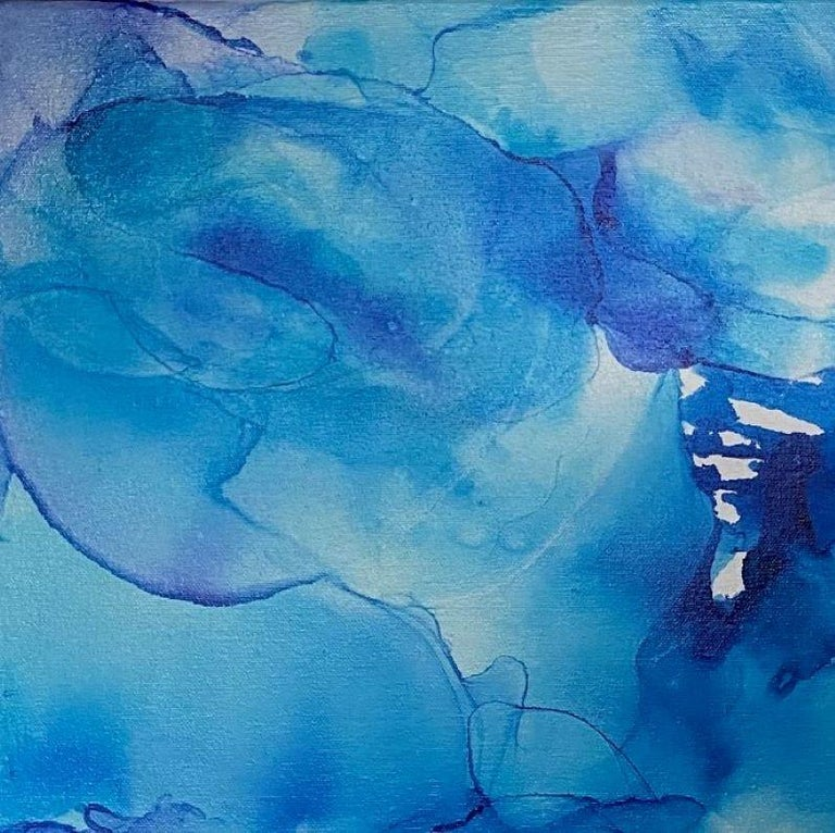 Blue Water, original 24x24 ink on canvas abstract expressionist painting For Sale 1