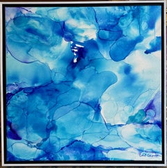 Blue Water, original 24x24 ink on canvas abstract expressionist painting