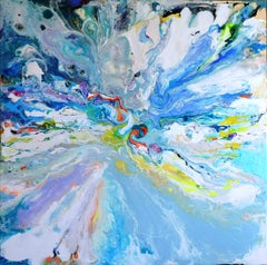 Clearwater, original 48x48 abstract expressionist acrylic landscape