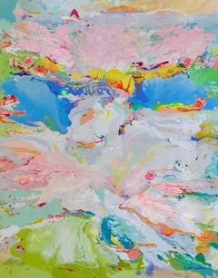 Day Break, original 60x48 abstract expressionist acrylic landscape