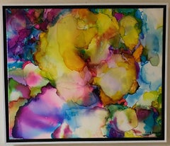 Pansies, original 20x24 archival ink on canvas abstract expressionist landscape