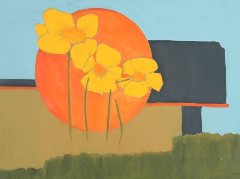 Abstracted Poppies Acrylic Painting, 1960s
