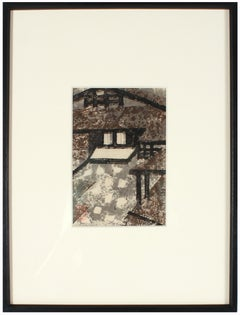 Abstract Cityscape in Brown, Black and Gray, Linoleum Print on Paper, 1960- 70's
