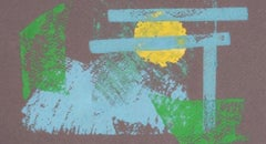 Blue, Green, & Yellow Abstraction 1960-70s Monotype