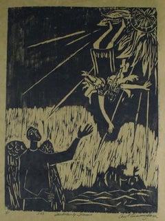 """""""Daedalus & Icarus"""" 1963 Mythological Print"""