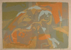 Mid Century Modern Abstract Serigraph on Paper in Orange Brown Tan Green