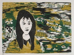 Portrait Of A Woman With Flowers 1960-70s Gold and Green Woodcut