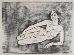 Reclining Female Nude 1960-70s Monochromatic Woodcut