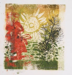 """Sun Up"" Botanical Abstract Monotype, 1963"