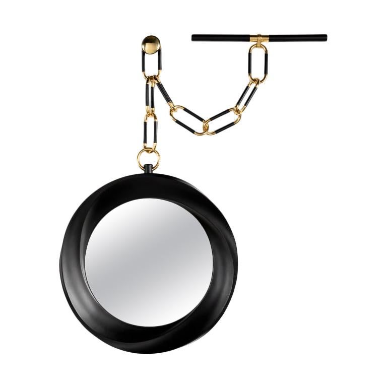 "Carol Egan, ""Montre à Gousset"", Carved Walnut Mirror, USA, 2013 For Sale"