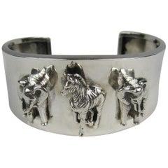 Carol Felley Safari Sterling Silver Bracelet Cuff 1990s
