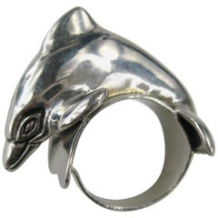 Carol Felley Sterling Silver jumping Dolphin Ring 1988