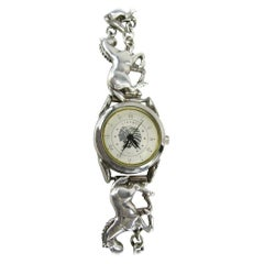 Carol Felley Sterling Silver Watch Galloping Horse 1980s