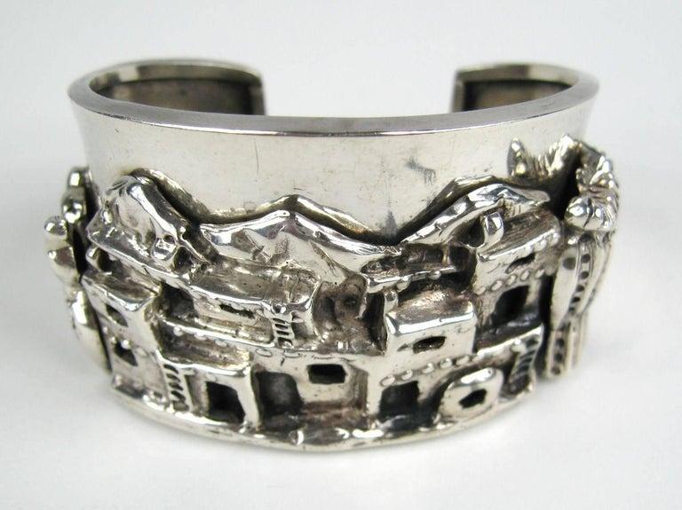 Carol Felley Story Teller Sterling Silver 1989 Cuff Bracelet For Sale 2